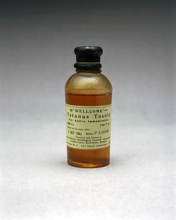 Bottle of tetanus vaccine, 1941.