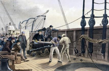 On board Brunel's 'Great Eastern', 1866.