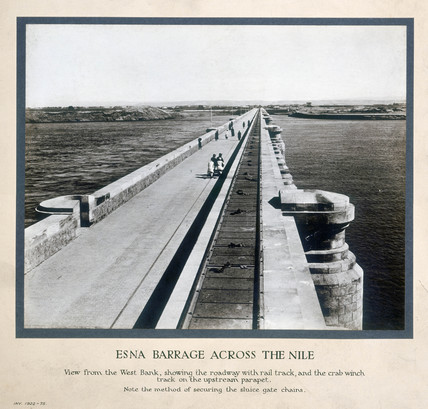 'Esna Barrage acros the Nile', Egypt, c 1920.