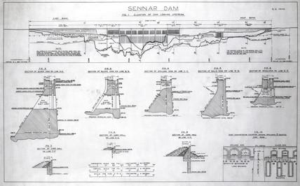 Plans of the Sennar Dam, Sudan, 1925.