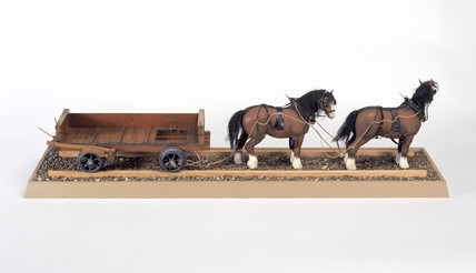 Railway and quarry truck, c 1730. Model (sc
