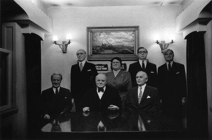 Seven waxworks of British politicians, 1968.