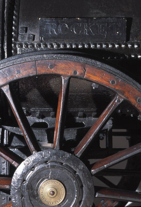 Driving wheel and name plate of Stephenson's 'Rocket', 1829.
