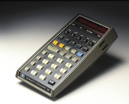 Hewlett Packard HP 65 hand-held electronic calculator, c 1972.