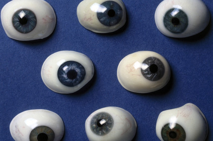 Collection of glas artificial eyes, French, 19th century.