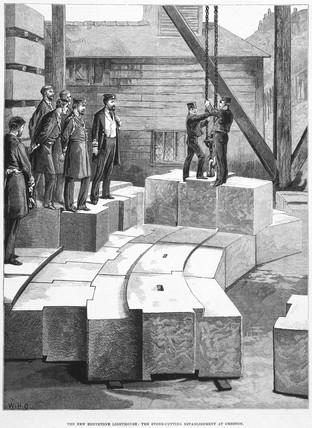 'The Stone-cutting Establishment at Oreston', c 1879.