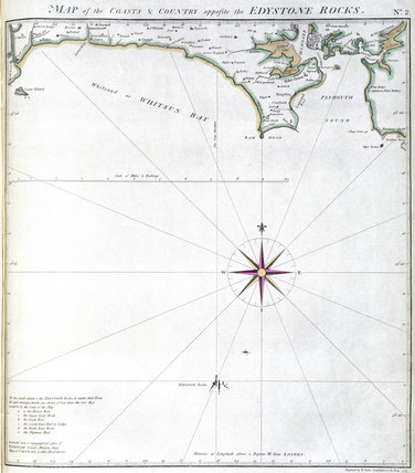 'Map of the Coast and Country opposite the Eddystone Rocks', 1789.