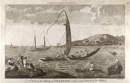 'A View of the Island of Otaheite, with several Vesels of that Island', c 1769.