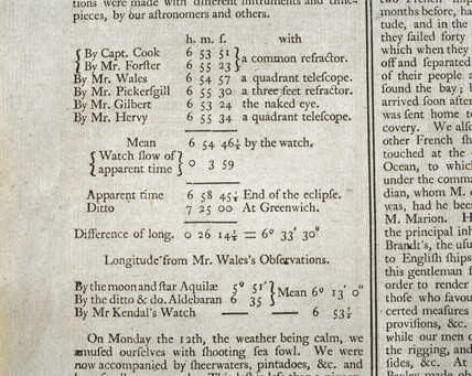 Lunar eclipse data, c 1773.
