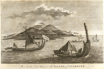 Native sailing vesels, Tahiti, c 1773.