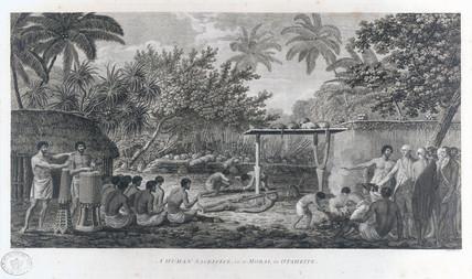 'A Human Sacrifice, in a Morai, in Otaheite', c 1773.