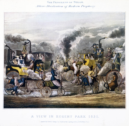 'The Progres of Steam - A View in Regent Park 1831', 1828.