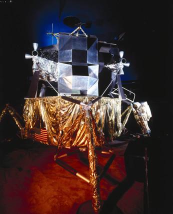 Apollo 11 lunar excursion module (LEM), Science Museum, London, c 1990.