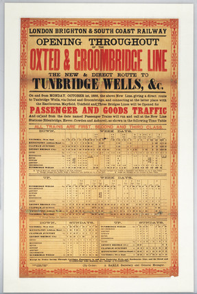 New and direct route to Tunbridge Wells', LB&SCR timetable, 1888.