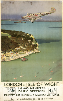 London & Isle of Wight in 40 Minutes', SR poster, 1935.