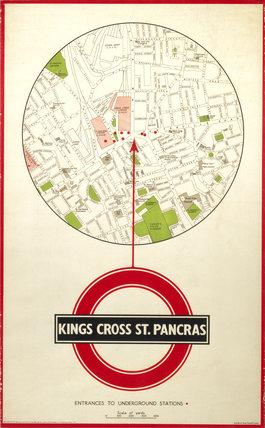 Kings Cros St Pancras, poster, c 1930s.