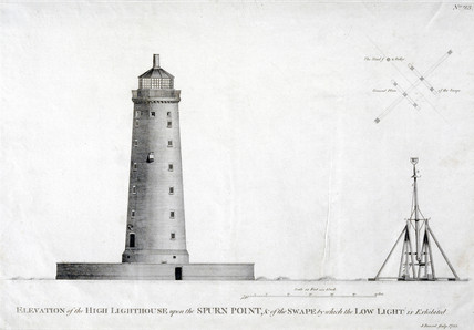 The high lighthouse and swape, Spurn Point, c 1767.