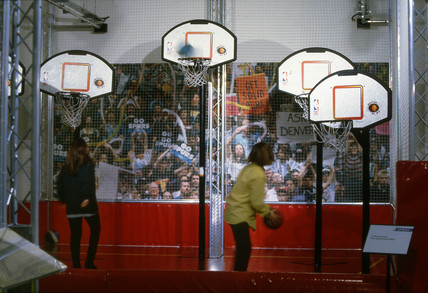 Visitors playing basketball, Science Museum, London, 1997.