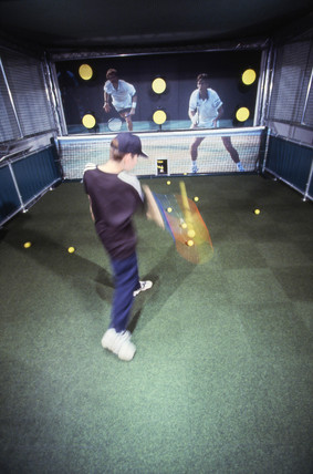Playing tennis, Science of Sport exhibit, Science Museum, London, 1997.