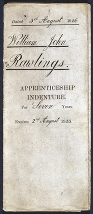 Indenture for a back and vat maker's apprentice, 2nd August, 1933.