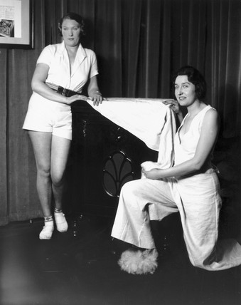 Women posing with the latest HMV gramophone, 31 January 1933.