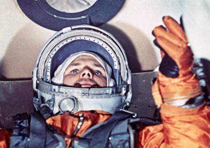Yuri Gagarin at the command desk, 1961.