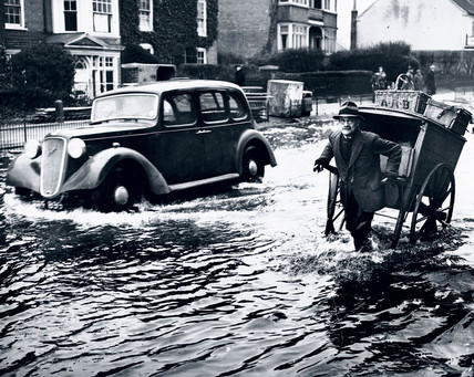 Flood water at Maidenhead, Berkshire, 30 January 1939.