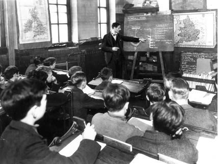 Clasroom scene at a secondary school, 28 October 1937.