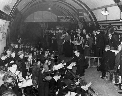 Concert in Aldwych Underground Station,  1940