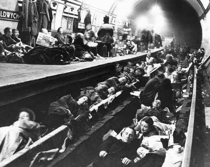 Aldwych Station being used as an air raid shelter, World War Two, c 1940.