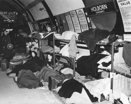 Air raid shelter, Holborn Station, World War Two, 30 January 1940.