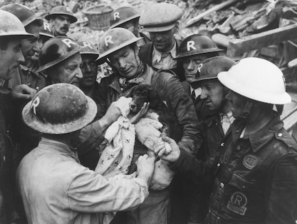 Rescue of a puppy during the Blitz, 1940.
