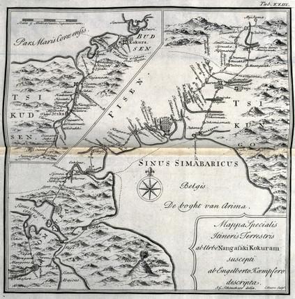 Map of Kyushu, from Nagasaki to Kokura, Japan, c 1690.