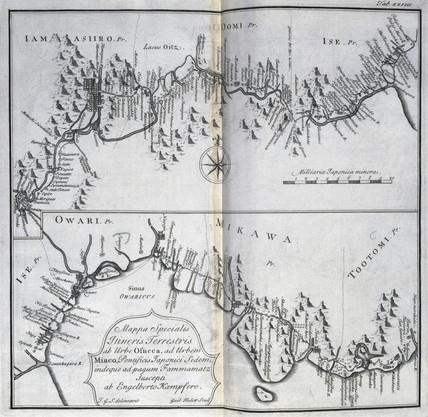 Map of the road between Osaka and Hamamatsu, Japan, c 1690.