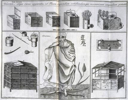 Boddhidarma and tea utensils, c 1690.