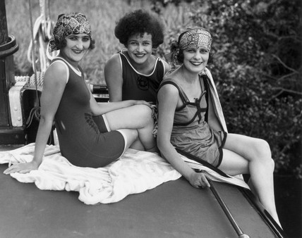 Three women in bathing costumes, c 1920s.