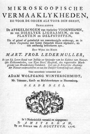 Title page from 'Mikroskoopische Vermaaklykheden', 1776.