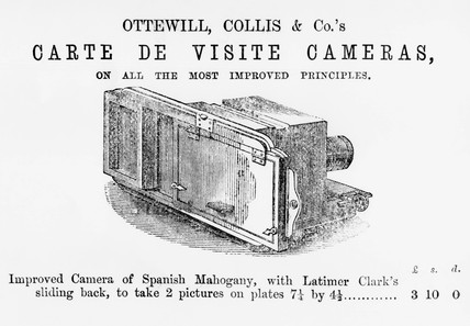 Advertisement for carte de visite cameras, c 1900s.