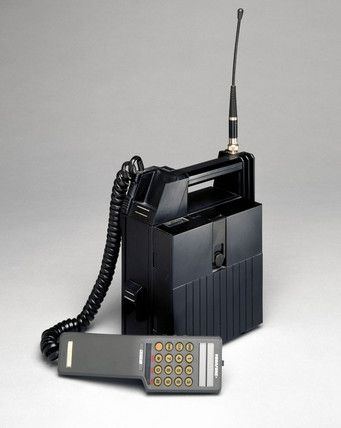 Vodafone transportable mobile phone, 1985.