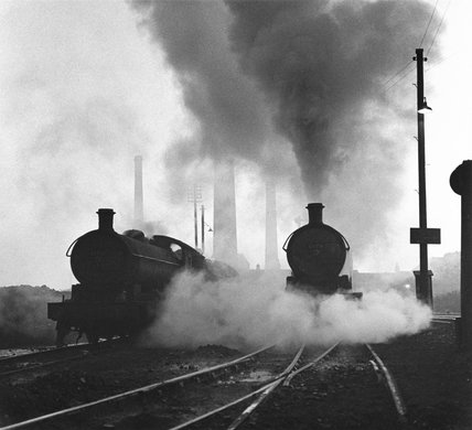 Two steam locomotives, County Durham, 14 October 1961.