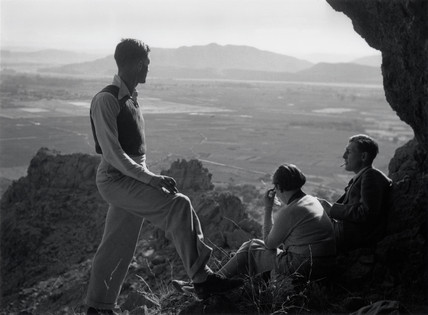 Three ramblers admiring the view, USA, c 1930s.