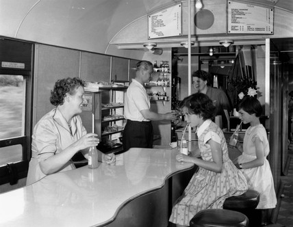 Buffet car on a train en route to Criccieth, North Wales, 1955.