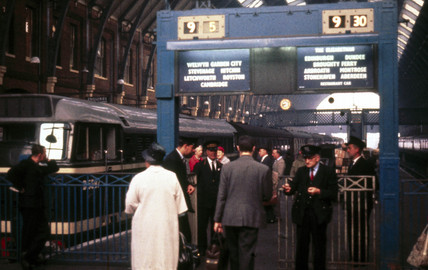 Ticket barrier, Waterloo Station, London, 1960.