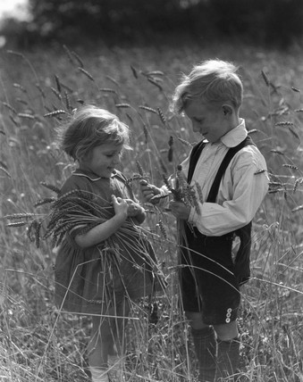 Two children picking wheat in a wheat field