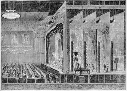 Theatre lit by Edison lamps, 1883.