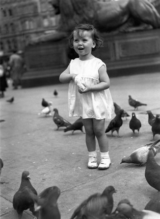Small girl feeding the pigeons in Trafalgar Square, London, c 1930s.