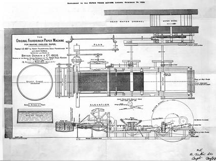 Fourdrinier paper-making machine, 1808.