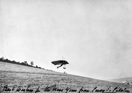 Percy Pilcher, English designer and glider aeronaut, flying the Hawk, 1890s.