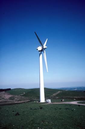 Turbine at a wind farm in Wales, 25 June 1997.