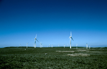 Turbines at a wind farm in Wales, 25 June 1997.